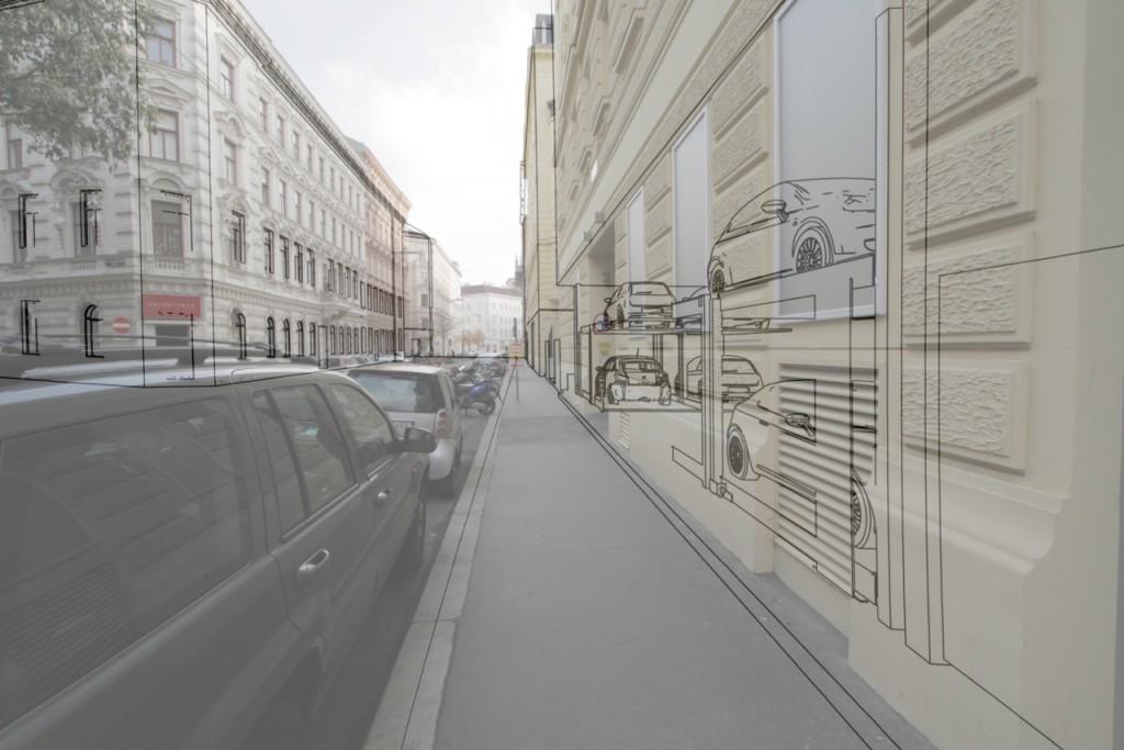 Visualisierung der Auswirkung von EG-Garagen auf PassantInnen; Dreidimensionales Stadtparterre-Modell (Ausschnitt), Abbildung: Jan Looman im Auftrag von Angelika Psenner