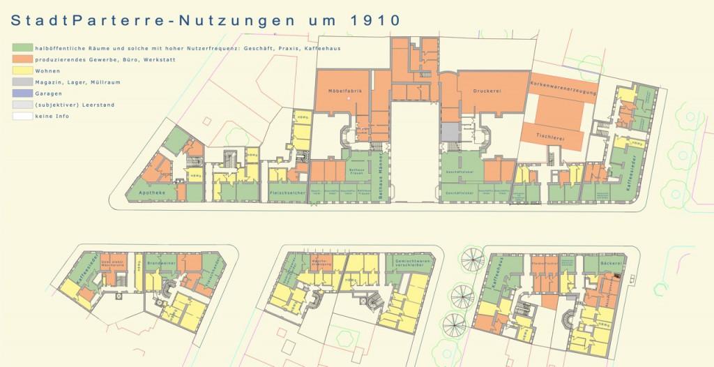 """""""StadtParterre-Nutzungen um 1910"""", Zusammenhängender Parterre-Plan, Angelika Psenner"""